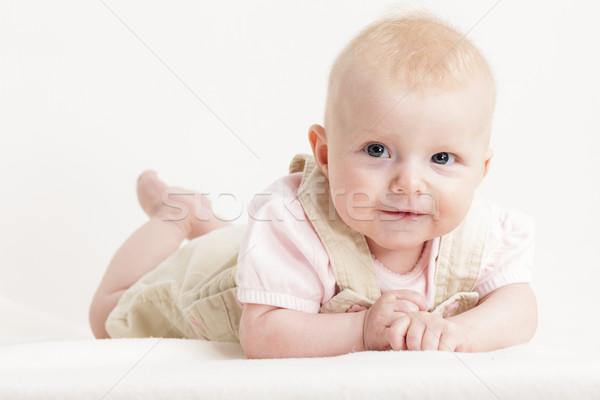 Portré négy hónapok öreg kislány lány Stock fotó © phbcz