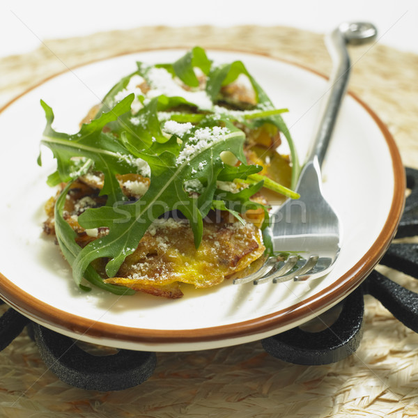 potato omelet with rucola and parmasan Stock photo © phbcz