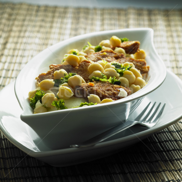 Stock photo: turkey mini steaks with chick peas