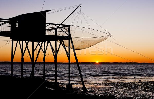 Muelle amanecer departamento edificio pesca Foto stock © phbcz