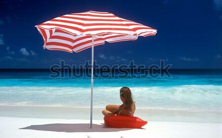 Foto stock: Mulher · praia · água · mulheres · mar · sozinho