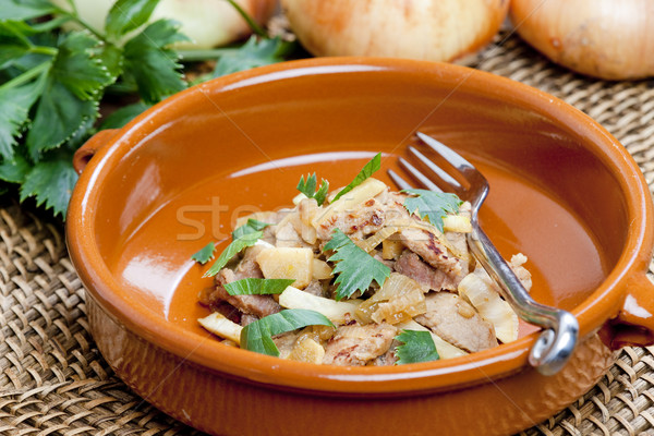 pork meat with celery noodles Stock photo © phbcz