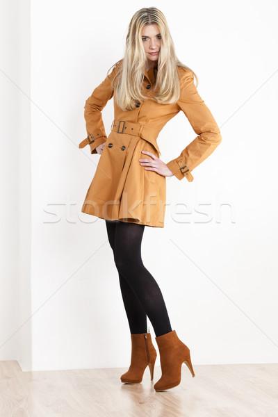 Zdjęcia stock: Stałego · kobieta · płaszcz · modny · brązowy