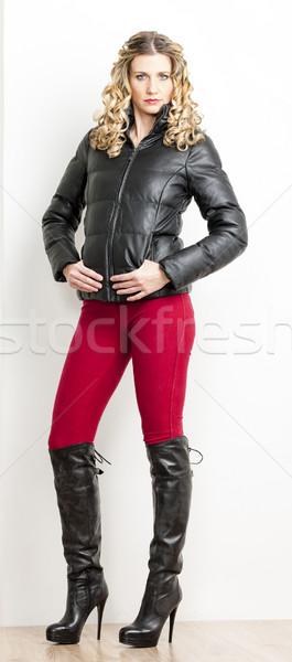 áll nő visel divatos ruházat fekete Stock fotó © phbcz