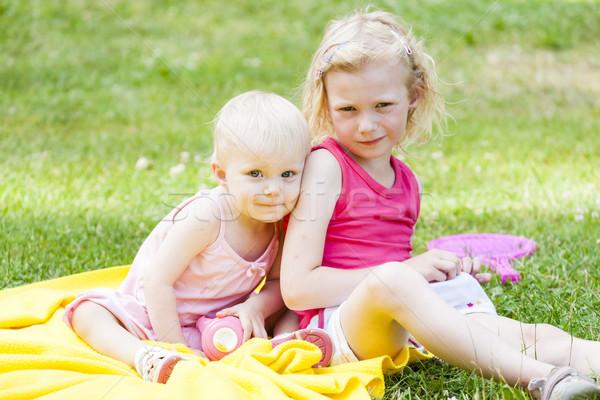 little girls sitting on blanket Stock photo © phbcz