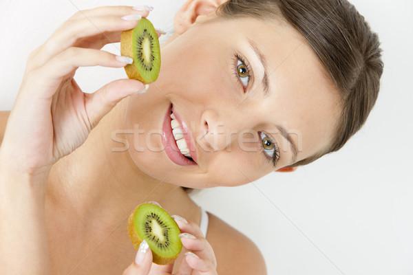 Portret jonge vrouw kiwi vrouw vruchten vruchten Stockfoto © phbcz