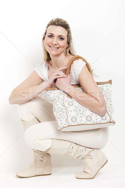 Vrouw zomer laarzen handtas t-shirt Stockfoto © phbcz