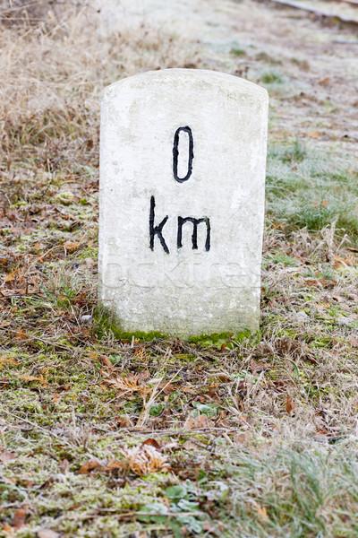 Zero quilômetro assinar objeto ao ar livre fora Foto stock © phbcz