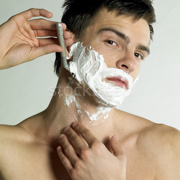 portrait of shaving man Stock photo © phbcz