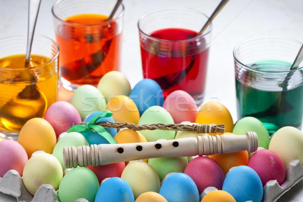 Natürmort paskalya yumurtası Paskalya easter egg renkler nesne Stok fotoğraf © phbcz