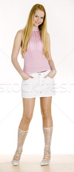 áll nő divat fiatal egyedül fiatalság Stock fotó © phbcz