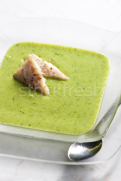mix broccoli and cauliflower soup with cod Stock photo © phbcz