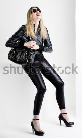 Mulher látex sessão cadeira moda preto Foto stock © phbcz