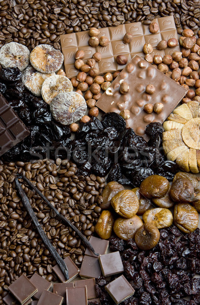 dried fruit with chocolate and coffee beans Stock photo © phbcz