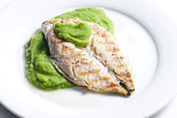 Grelhado cavala manjericão prato refeição prato Foto stock © phbcz