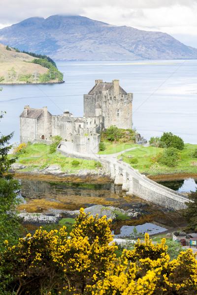 Kasteel Schotland bergen meer architectuur Europa Stockfoto © phbcz