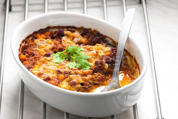 Mexicano mezcla mozzarella carne cuchara Foto stock © phbcz