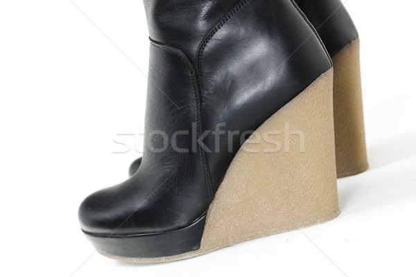 detail of fashionable platform black boots Stock photo © phbcz