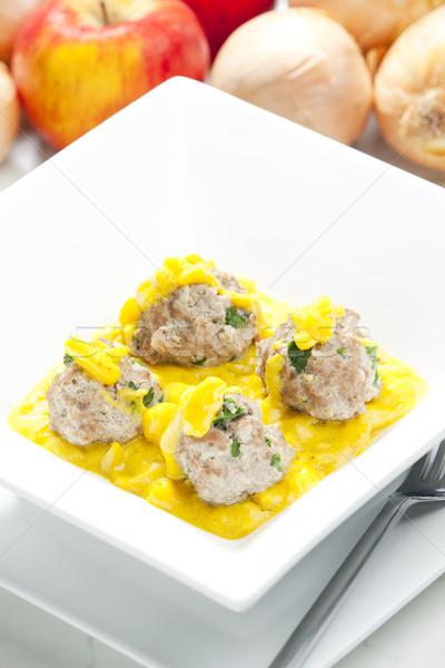 Zdjęcia stock: Mięsa · zioła · jabłko · curry · sos