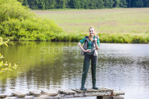 young woman fishing on pier at pond Stock photo © phbcz