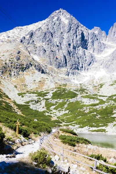 Szczyt wysoki krajobraz góry jezioro Europie Zdjęcia stock © phbcz