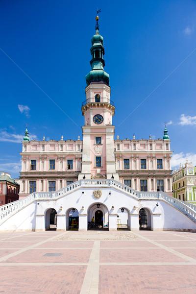 Stadhuis hoofd- vierkante Polen architectuur huizen Stockfoto © phbcz