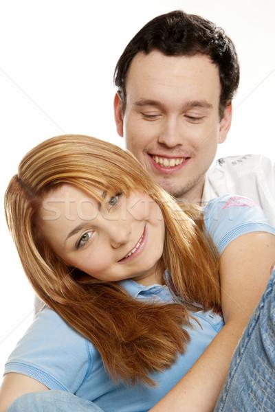 hugging couple''s portrait Stock photo © phbcz