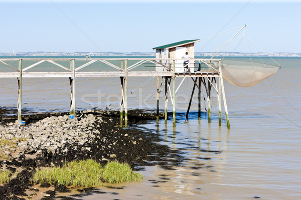 pier with fishing net, Gironde Department, Aquitaine, France Stock photo © phbcz