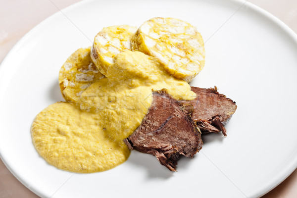 sirloin on cream with dumplings Stock photo © phbcz