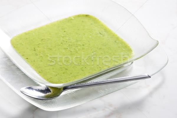 Keverék brokkoli karfiol leves zöld tányér Stock fotó © phbcz