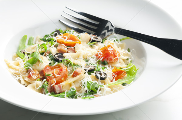 pasta farfalle with Parma ham and cherry tomatoes Stock photo © phbcz