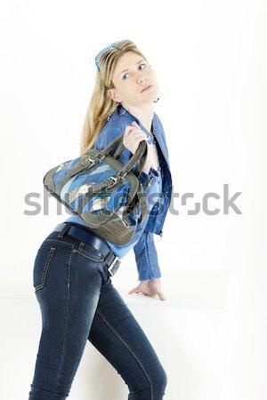 Stock fotó: Portré · áll · fiatal · nő · visel · extravagáns · csizma