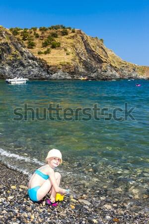 母親 娘 地中海 海 フランス 女性 ストックフォト © phbcz