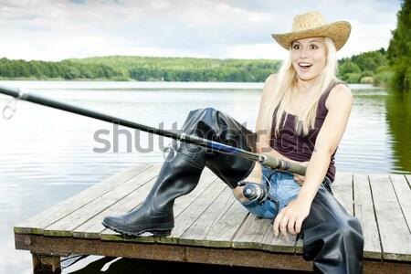 Zdjęcia stock: Połowów · kobieta · lądowanie · netto · stałego · molo