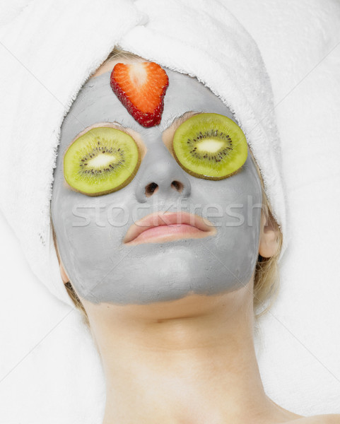 Zdjęcia stock: Kobieta · maska · twarz · piękna · truskawki · młodych