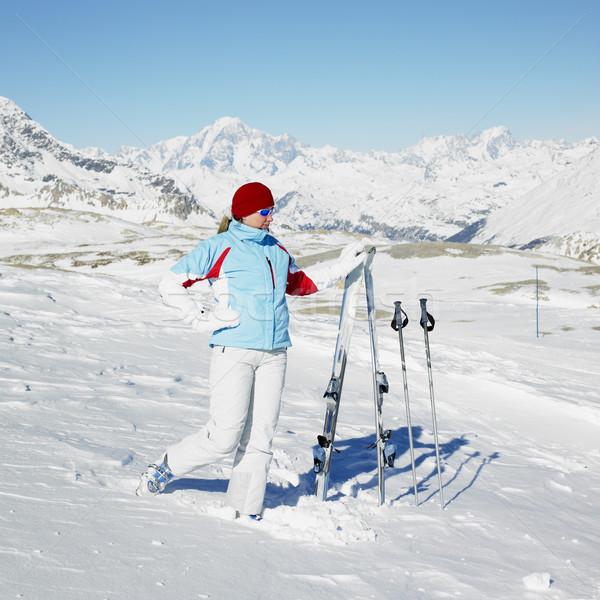 Femme skieur alpes montagnes France sport Photo stock © phbcz