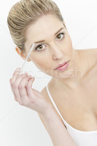 Portret młoda kobieta brew kobiet piękna Zdjęcia stock © phbcz