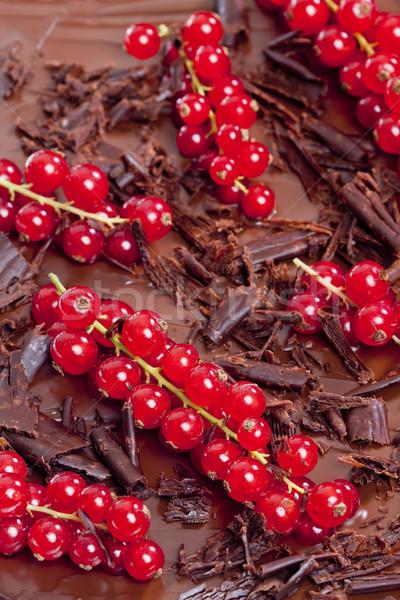 Rojo grosella chocolate alimentos postre marrón Foto stock © phbcz