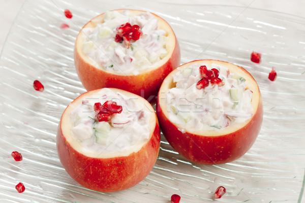Csirkesaláta alma étel tyúk gyümölcsök saláta Stock fotó © phbcz