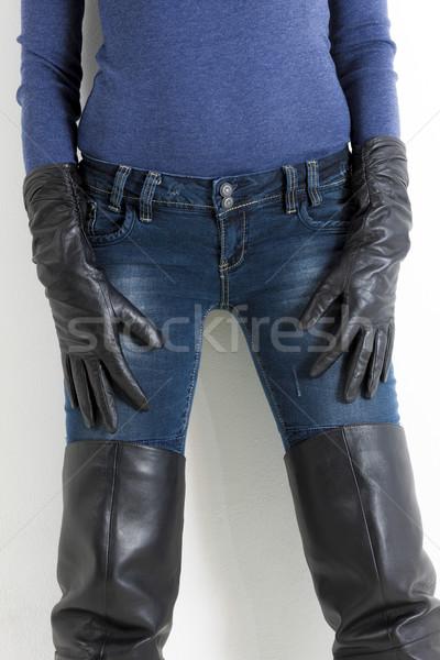 Detail permanente vrouw zwarte laarzen Stockfoto © phbcz