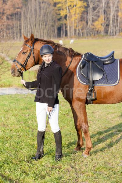 Lovas ló legelő nők fiatal állat Stock fotó © phbcz