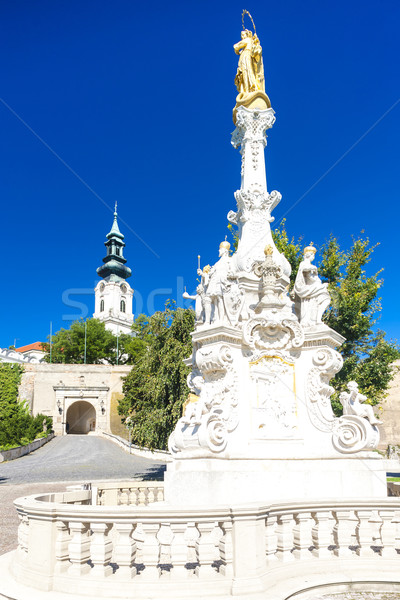 the plague column and castle in Nitra, Slovakia Stock photo © phbcz