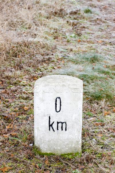 Nulla kilométer felirat tárgy szabadtér kívül Stock fotó © phbcz
