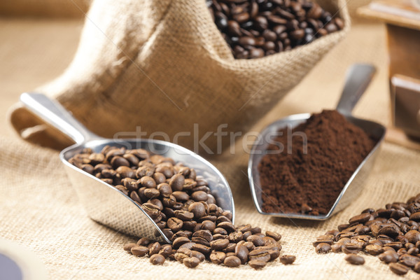 still life of coffee beans in jute bag Stock photo © phbcz