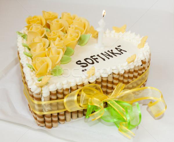 именинный торт продовольствие торт белый Sweet лук Сток-фото © phbcz