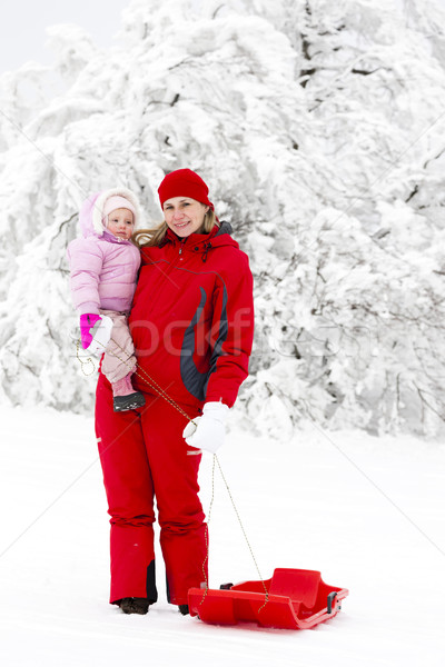mother and her little daughter with bob in snow Stock photo © phbcz
