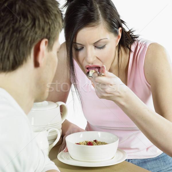 Paar ontbijt vrouw man ontspannen paren Stockfoto © phbcz
