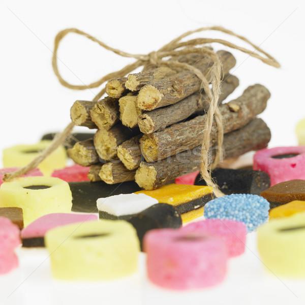 Lukrecja korzeń jeść słodkie korzenie przyprawy Zdjęcia stock © phbcz
