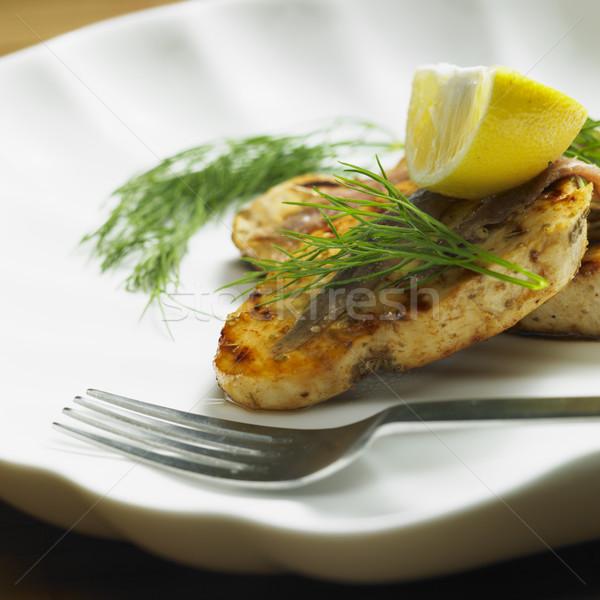Kılıçbalığı biftek gıda balık sağlık yemek Stok fotoğraf © phbcz