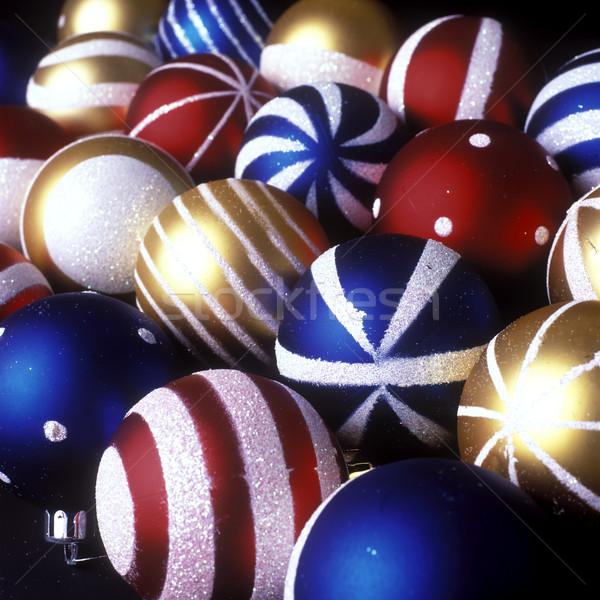 Foto stock: Navidad · decoraciones · fondo · azul · rojo · fondos